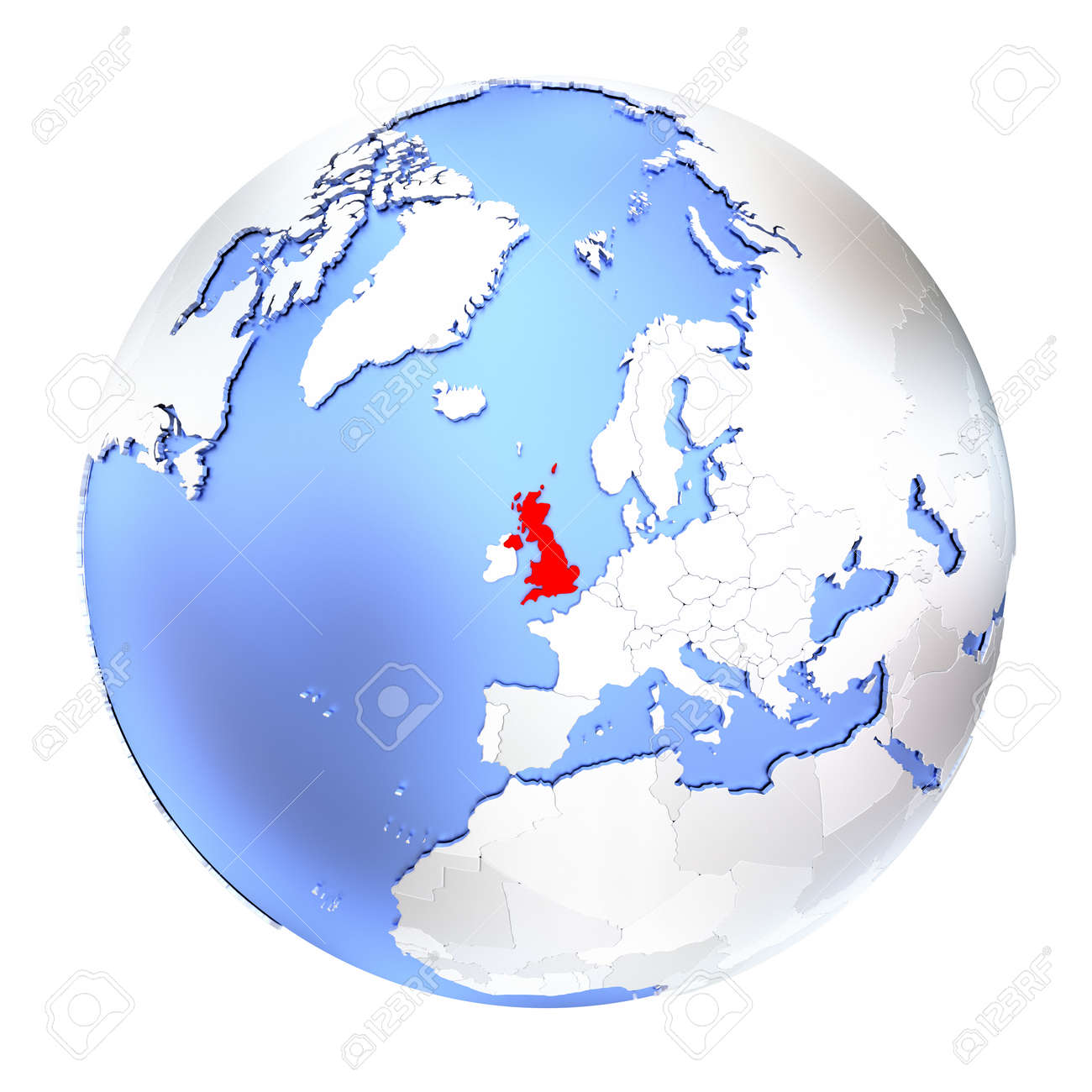 Map Of United Kingdom On Metallic Globe 3d Illustration Isolated Stock Photo Picture And Royalty Free Image Image 73433046