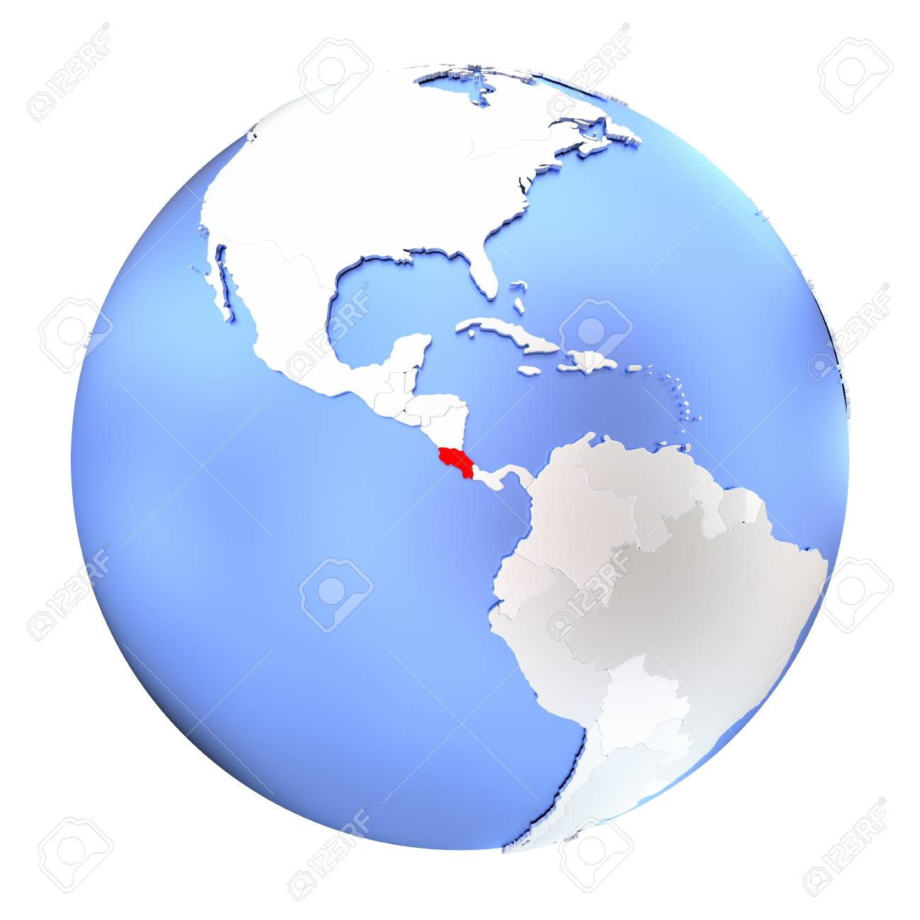 Picture of: Map Of Costa Rica On Metallic Globe 3d Illustration Isolated Stock Photo Picture And Royalty Free Image Image 73433082