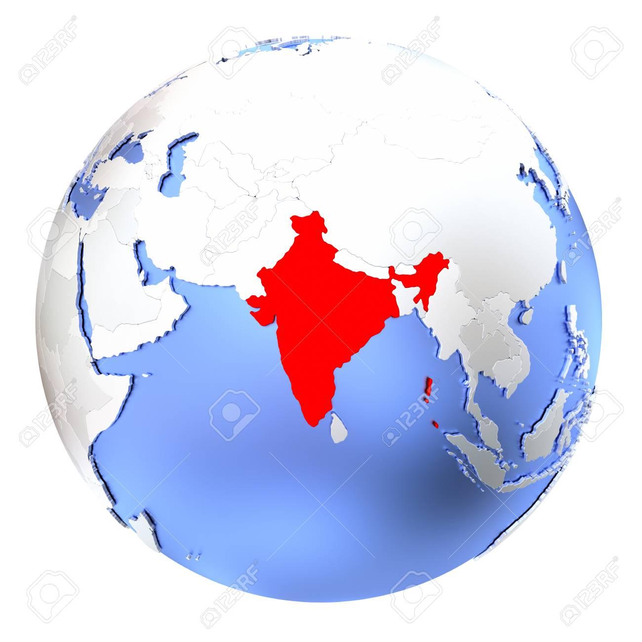 Mapa De La India En El Mundo.Mapa De La India En El Mundo Metalico Ilustracion 3d Aislado Sobre Fondo Blanco