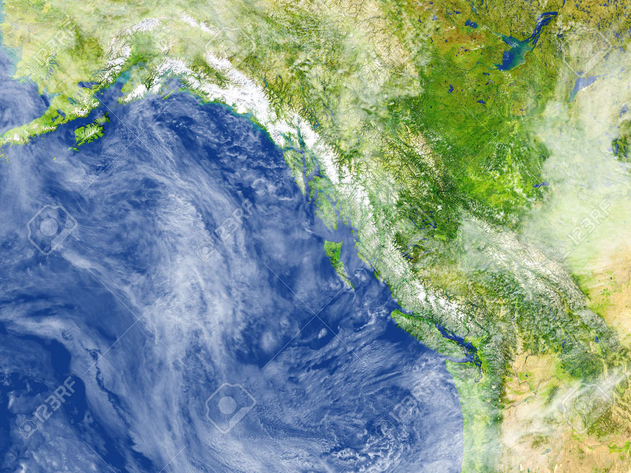 Costa Oeste De Canada Ilustracion 3d Con Superficie De Planeta Detallada
