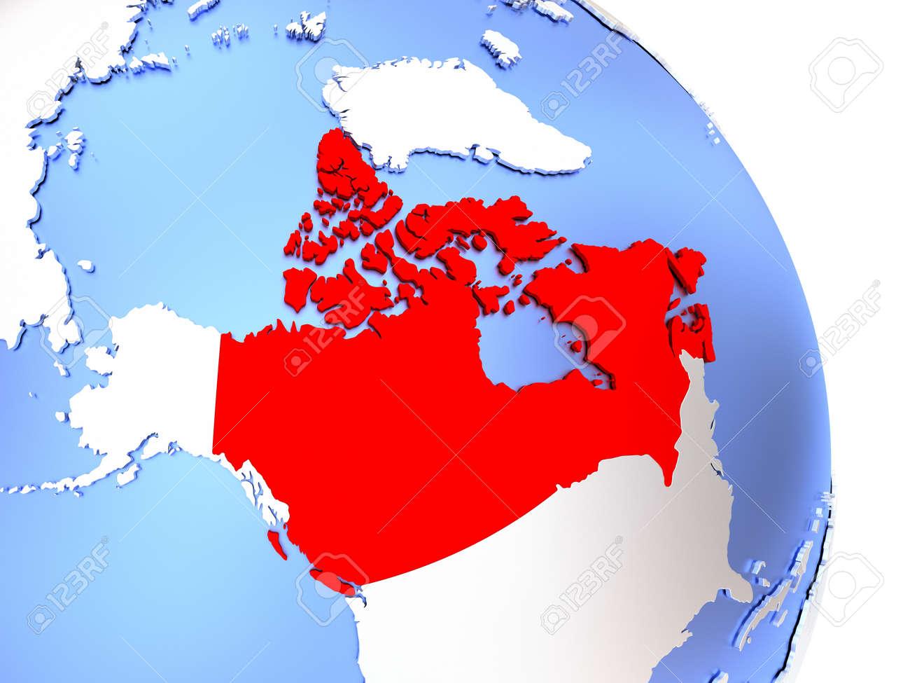 Map Of Canada On Globe.Stock Illustration
