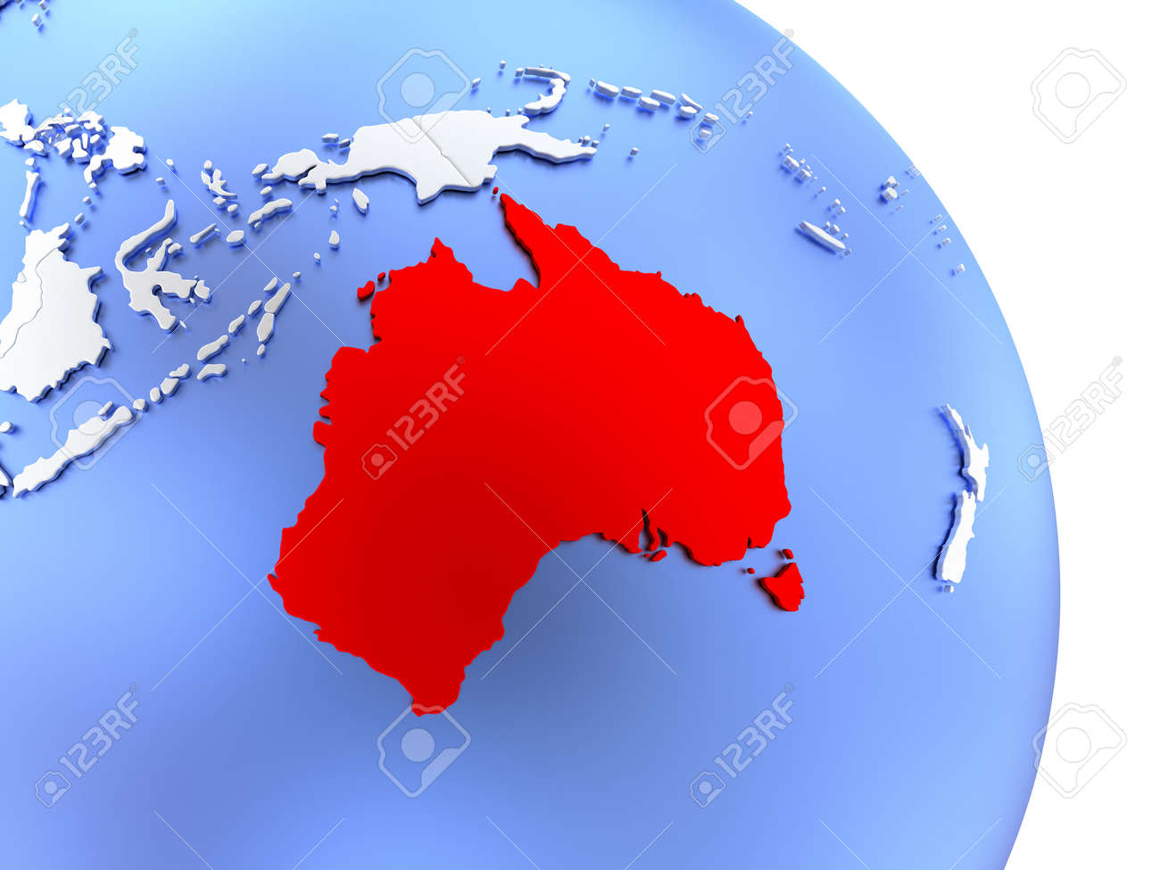 illustration map of australia on elegant shiny globe 3d illustration