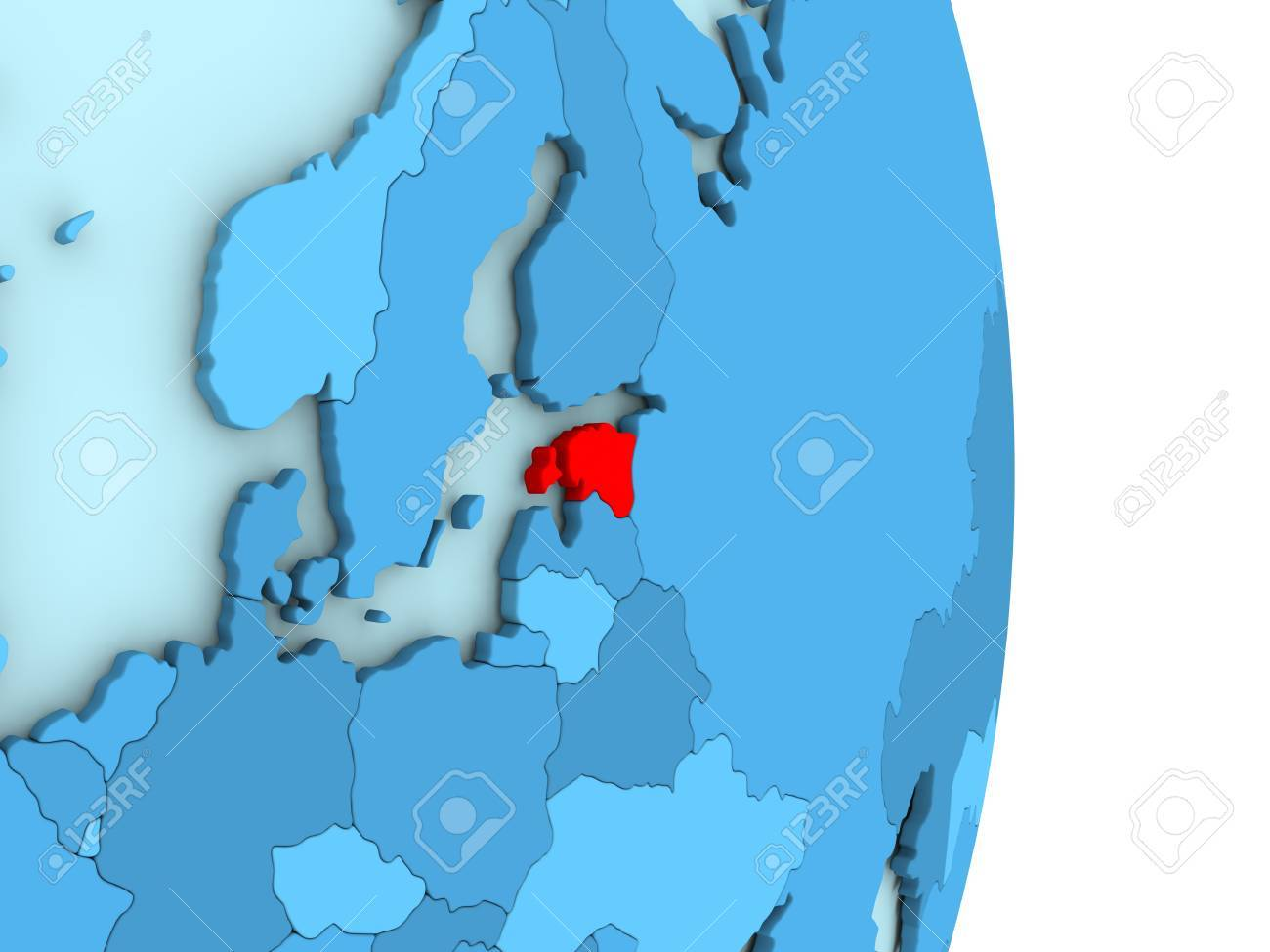 Map of estonia on blue globe with visible country borders and illustration map of estonia on blue globe with visible country borders and countries in different shades of blue 3d illustration gumiabroncs Gallery