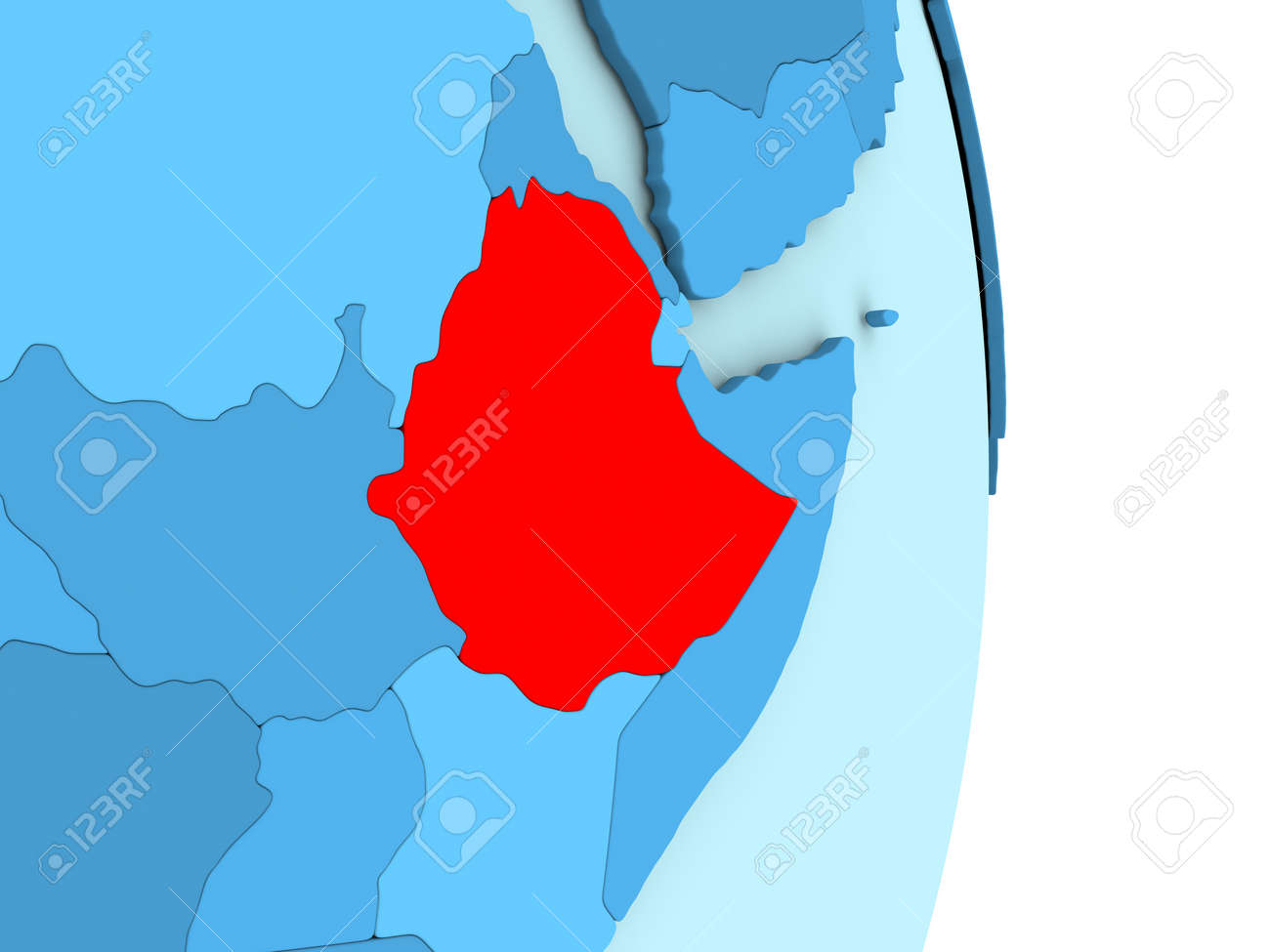 Map Of Ethiopia On Blue Globe With Visible Country Borders And ...
