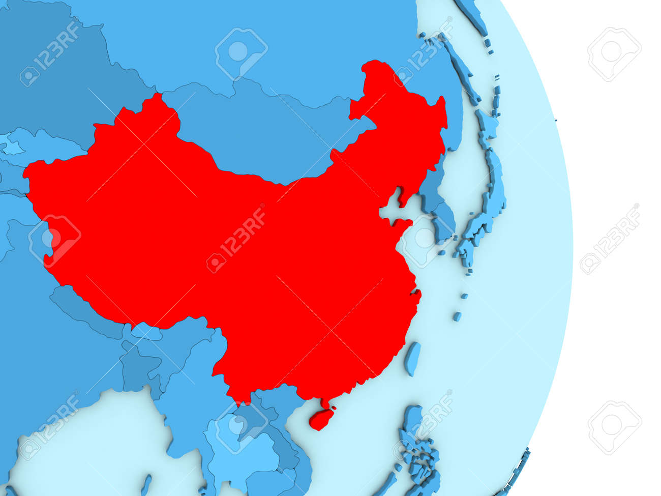 Countries Bordering China Map.Map Of China On Blue Globe With Visible Country Borders And