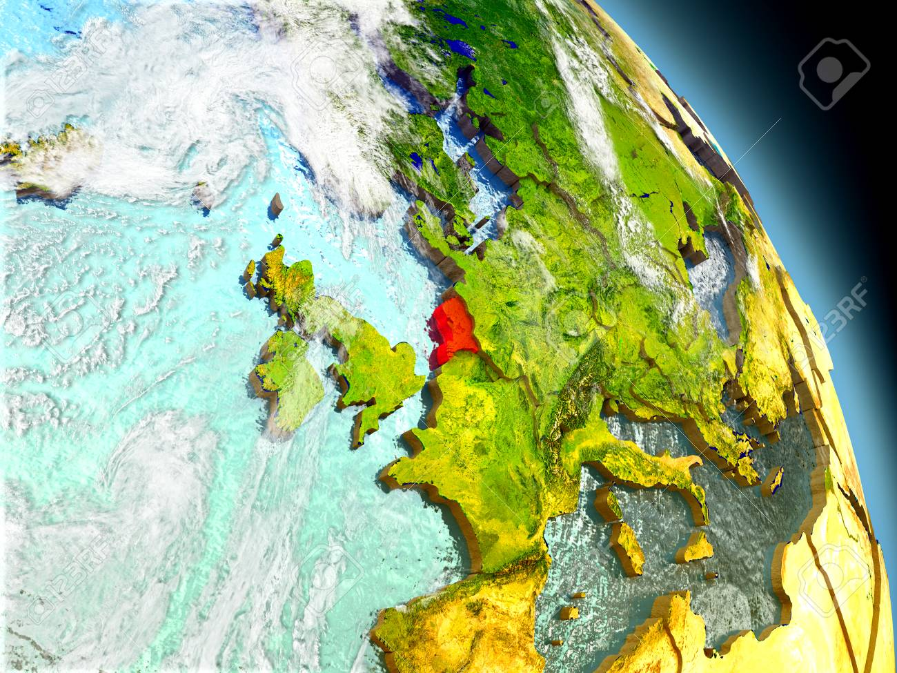 Netherlands In Red On Model Of Planet Earth With Embossed Countries