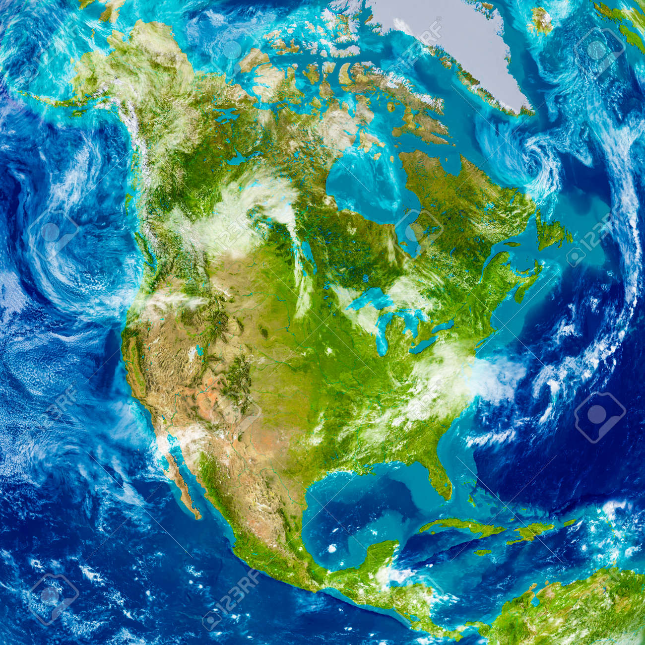 North america on physical world map 3d illustration with detailed illustration north america on physical world map 3d illustration with detailed planet surface gumiabroncs Gallery