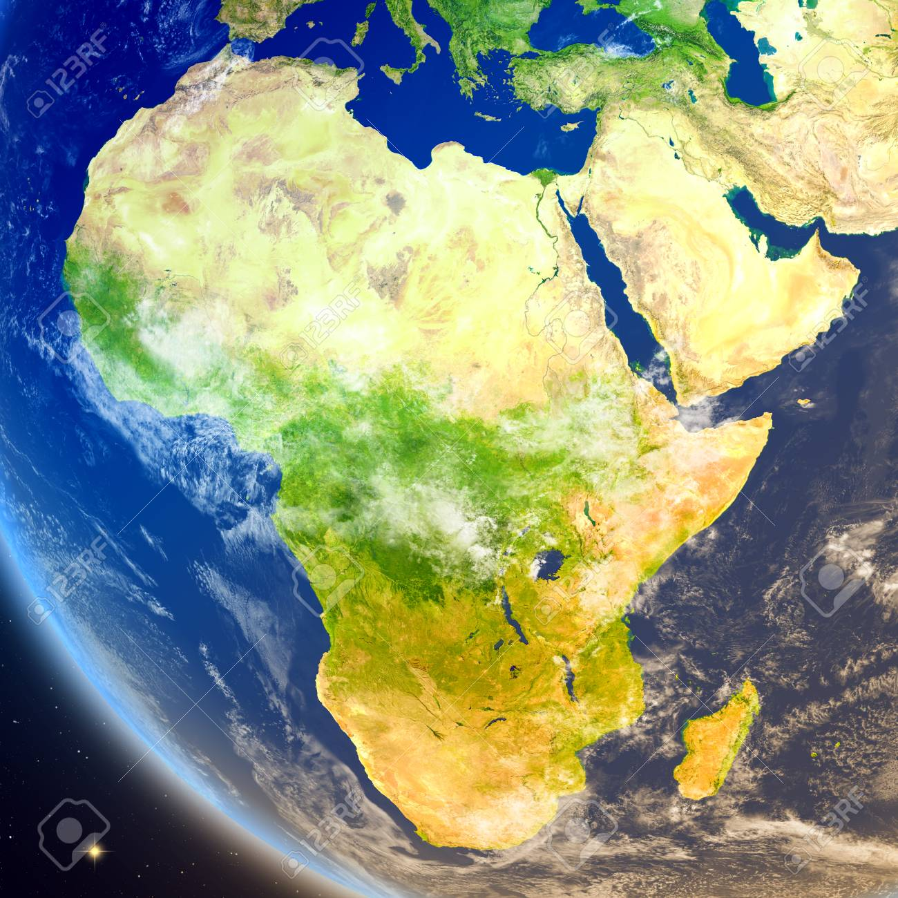 Satellite View Of Africa On Planet Earth 3d Illustration With
