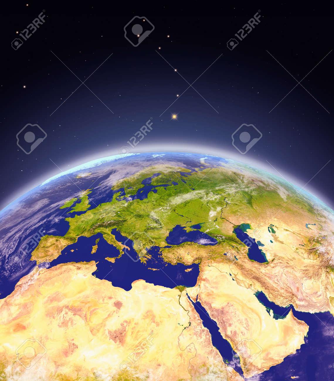 Vista Satelital De La Región Emea En El Planeta Tierra Ilustración