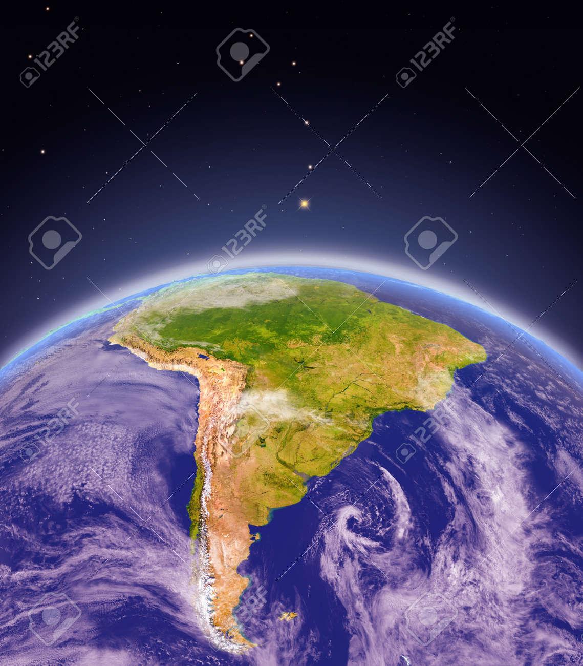 Vista Satelital De Sudamérica En El Planeta Tierra Ilustración 3d