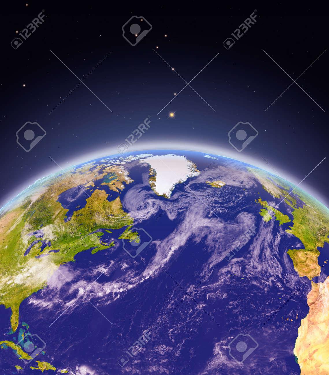 Vista Satelital Del Atlántico Norte En El Planeta Tierra