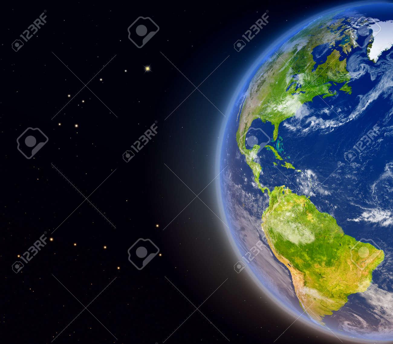Vista Satelital De Las Américas En El Planeta Tierra Ilustración 3d