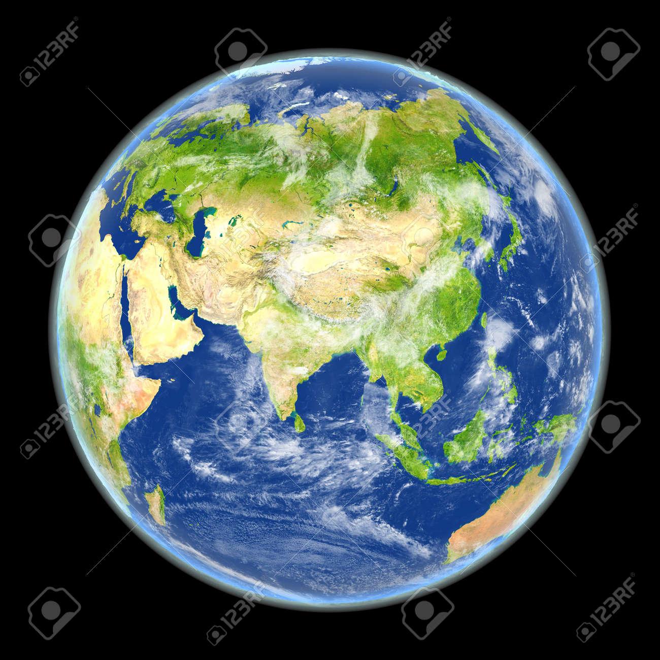 Vista Satelital De Asia En El Planeta Tierra Ilustración 3d Con