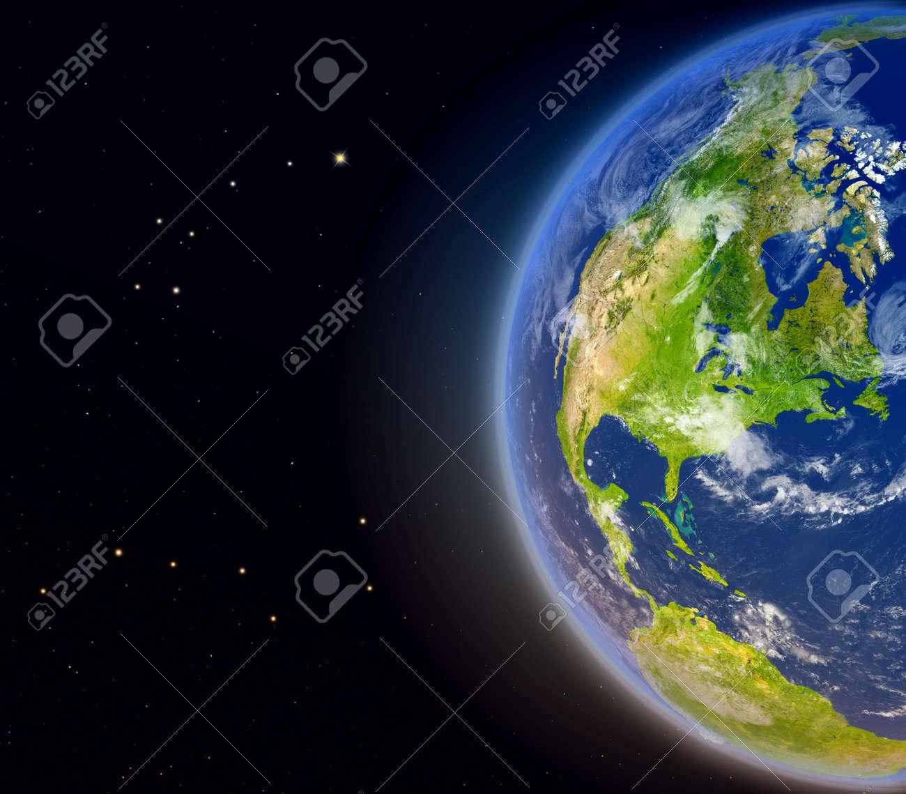 Vista Satelital De América Del Norte En El Planeta Tierra