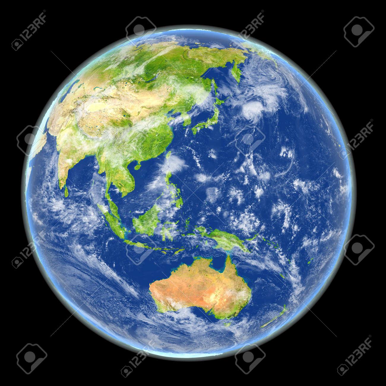 Vista Satelital Del Este De Asia En El Planeta Tierra Ilustración