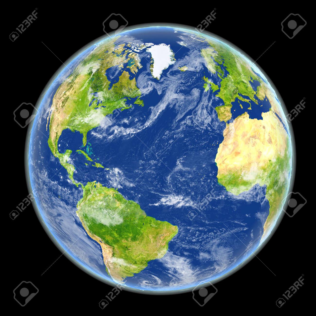 Vista Satelital Del Hemisferio Norte En El Planeta Tierra
