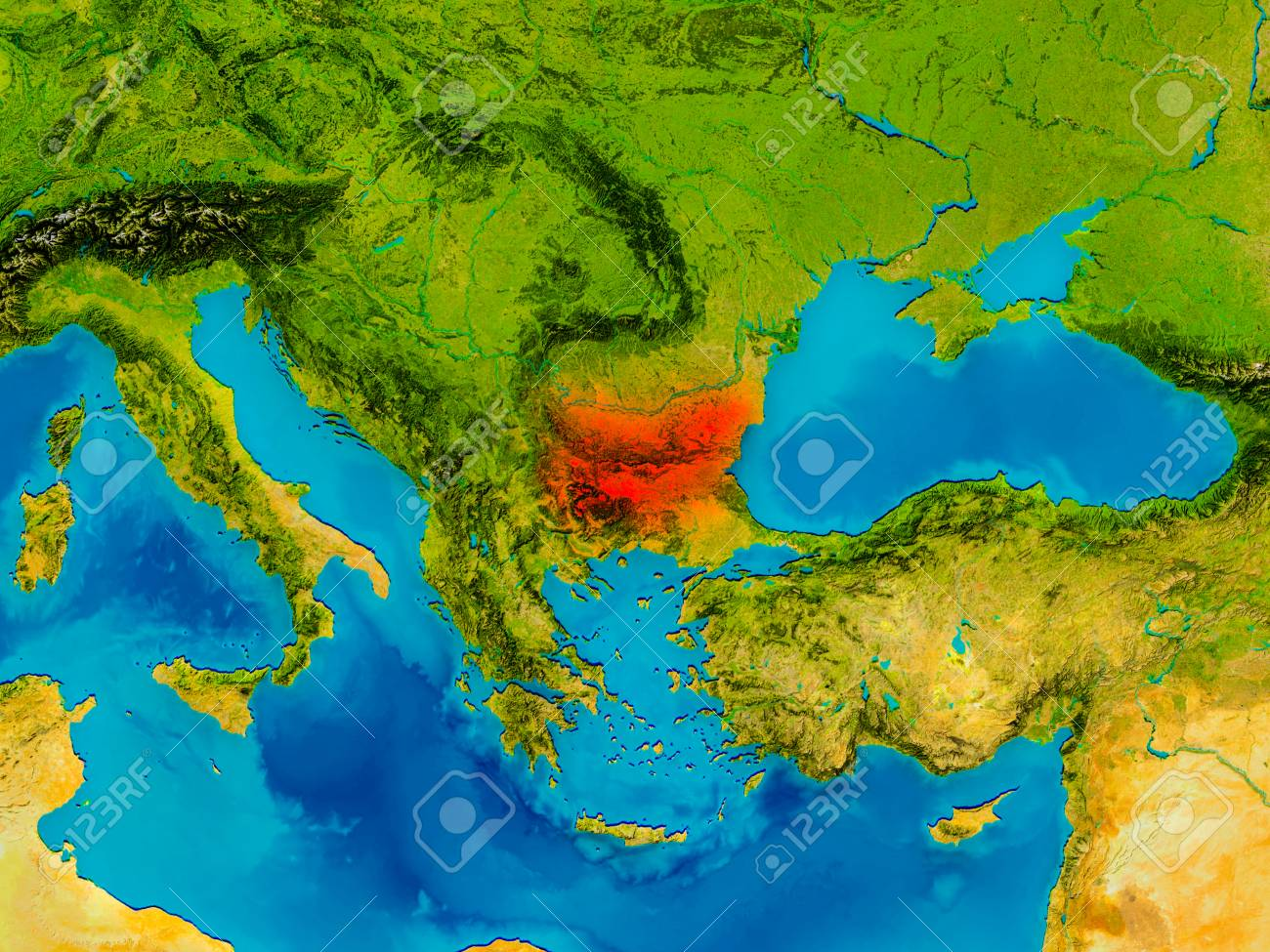 Bulgaria Highlighted In Red On Physical Map 3D Illustration Stock