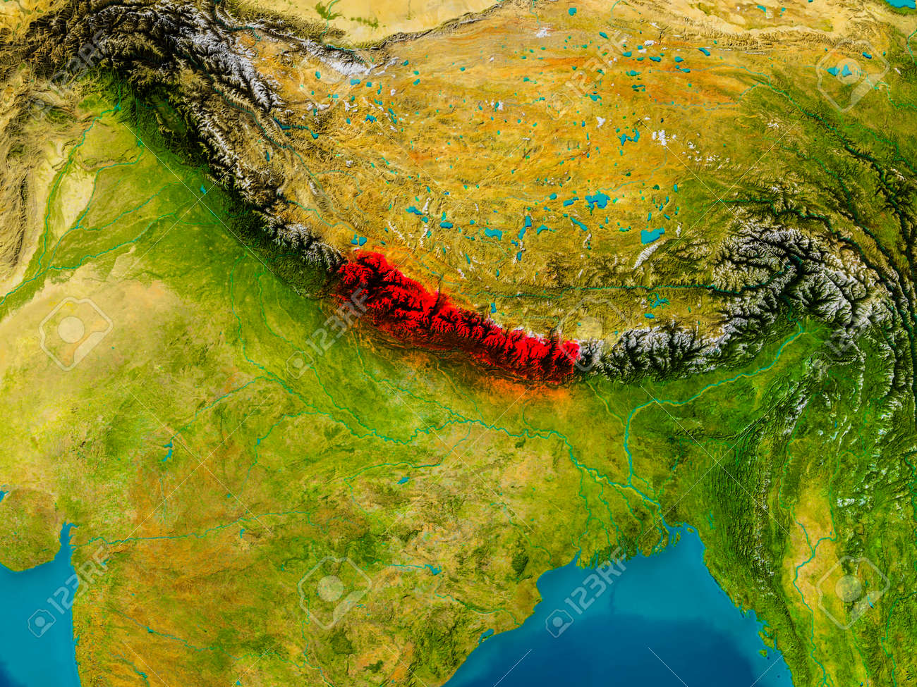 Nepal Highlighted In Red On Physical Map 3D Illustration Stock