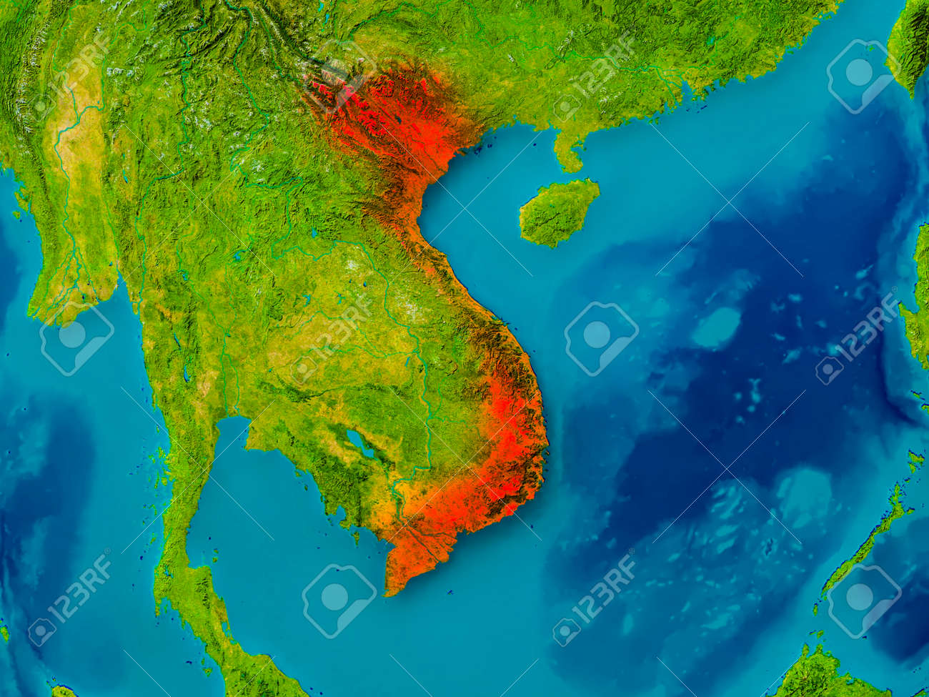 Illustration   Vietnam Highlighted In Red On Physical Map. 3D Illustration.