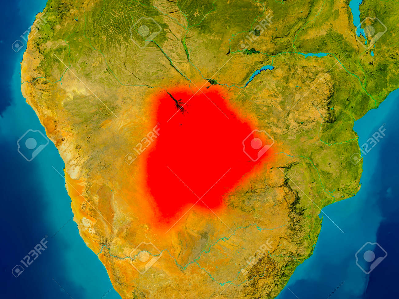 Botswana Highlighted In Red On Physical Map 3D Illustration Stock