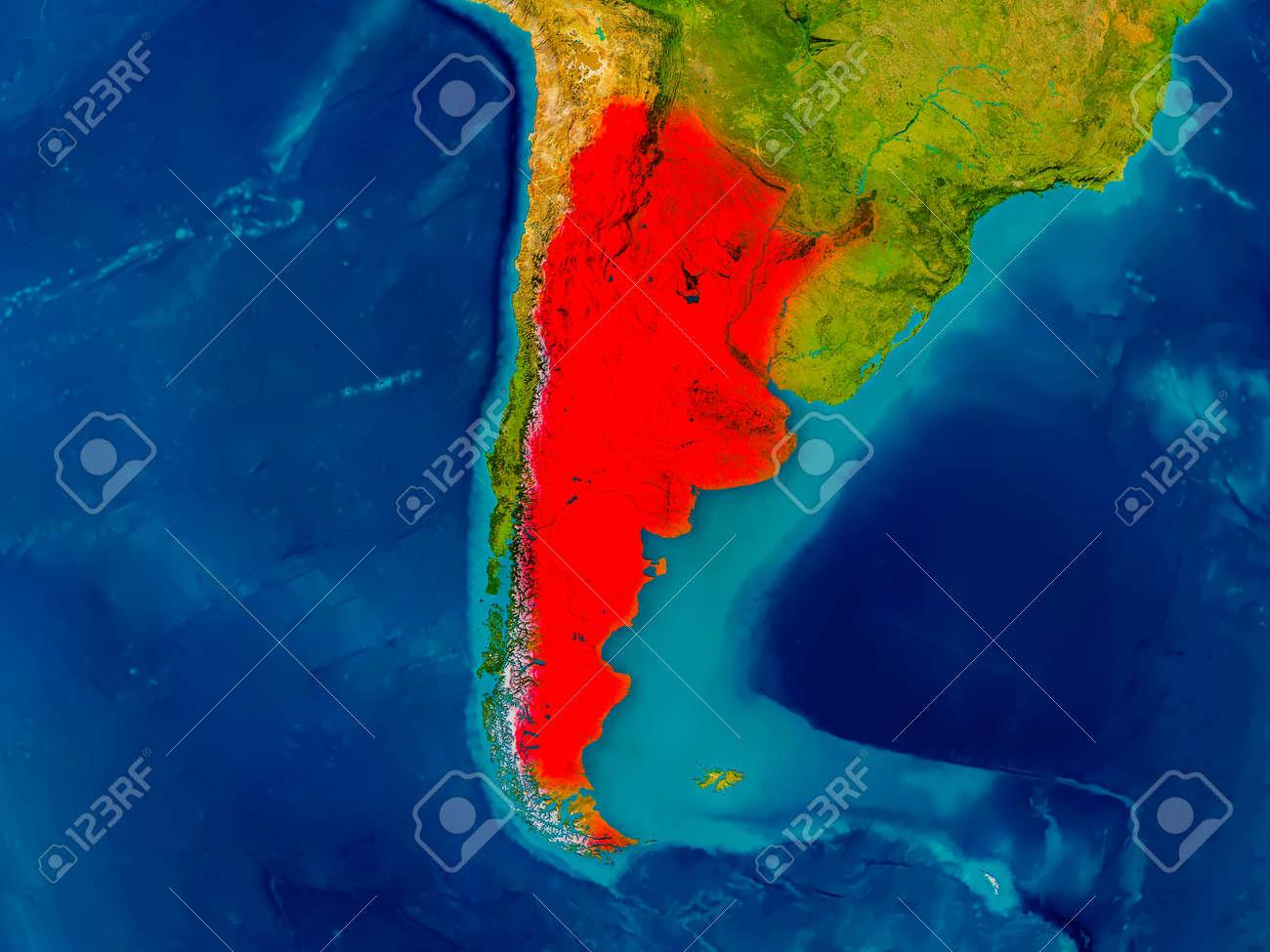 Argentina Destaco En Rojo En El Mapa Fisico Ilustracion 3d Fotos Retratos Imagenes Y Fotografia De Archivo Libres De Derecho Image 77614649