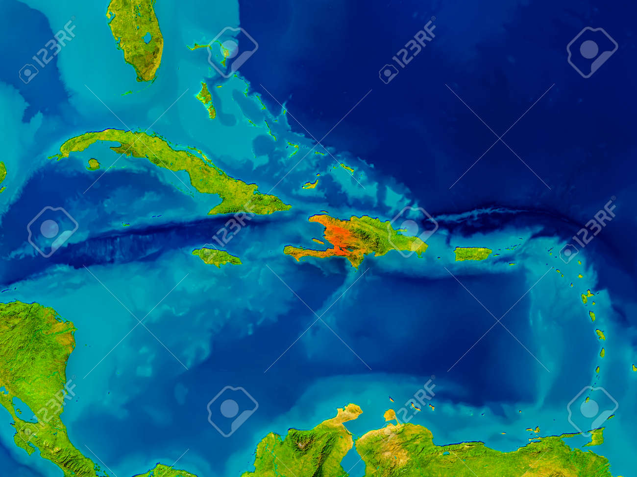 Haiti Highlighted In Red On Physical Map 3d Illustration Stock Photo Picture And Royalty Free Image Image 77614663