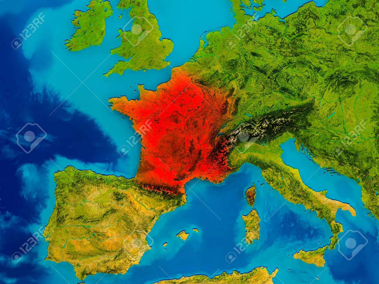 France Highlighted In Red On Physical Map. 3D Illustration. Stock ...
