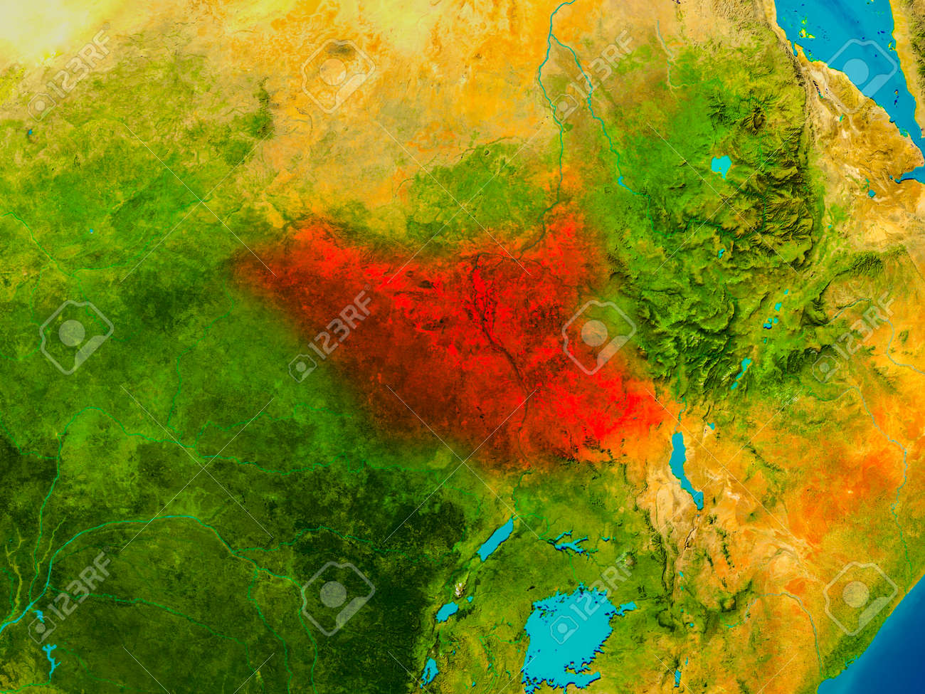 South Sudan Highlighted In Red On Physical Map 3D Illustration
