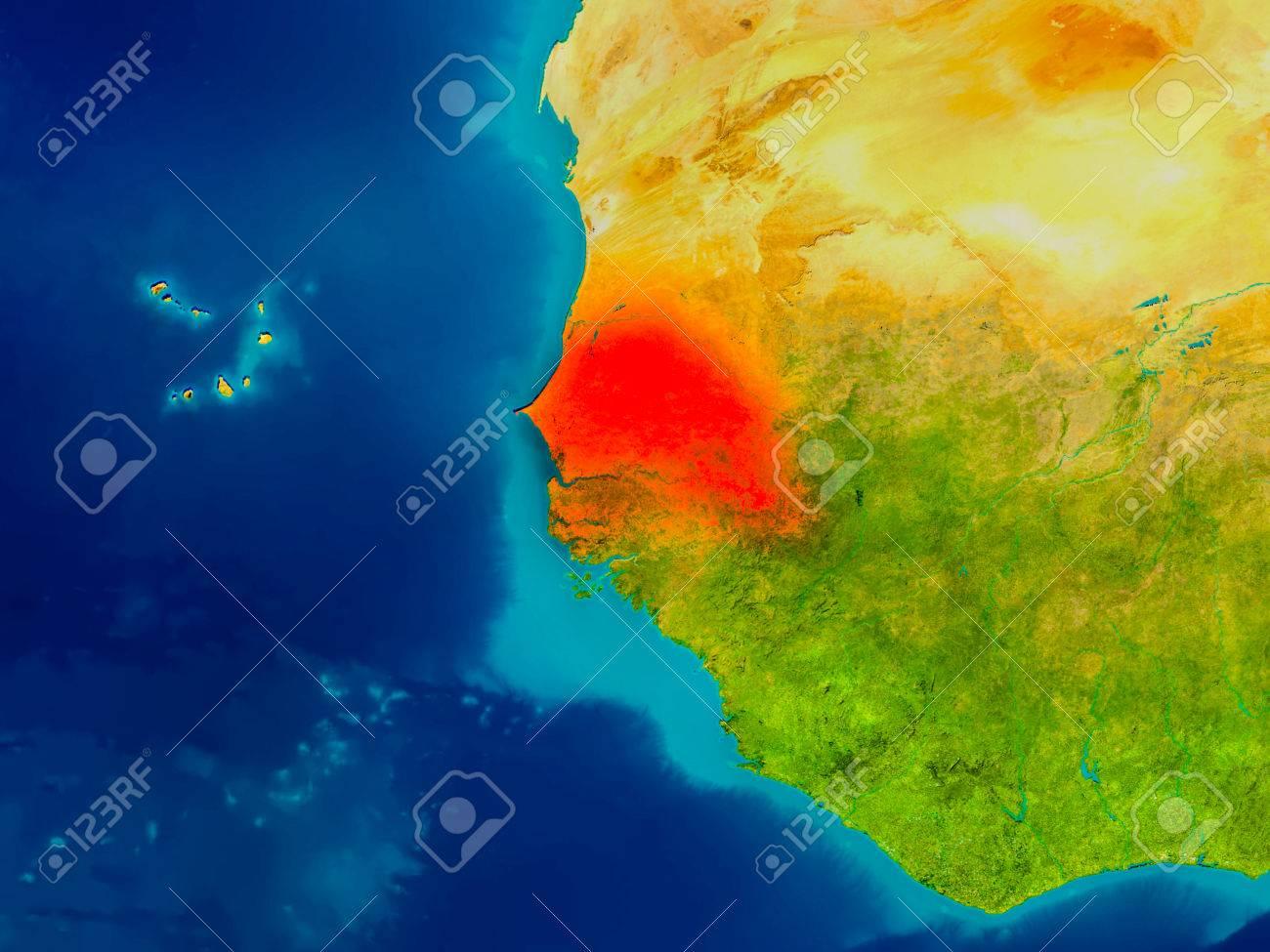 Cartina Fisica Senegal.Immagini Stock Il Senegal E Evidenziato In Rosso Sulla Mappa
