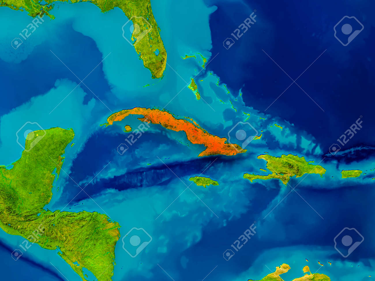 Cuba Highlighted In Red On Physical Map 3D Illustration Stock
