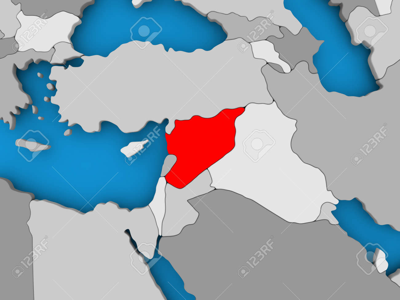 Syria in red on political map 3d illustration stock photo picture illustration syria in red on political map 3d illustration gumiabroncs Gallery