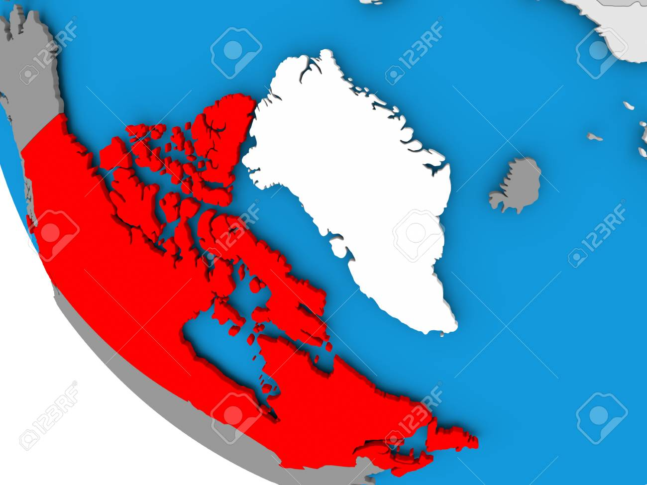 Map Of Canada On Globe.Map Of Canada In Red On Political Globe 3d Illustration Stock