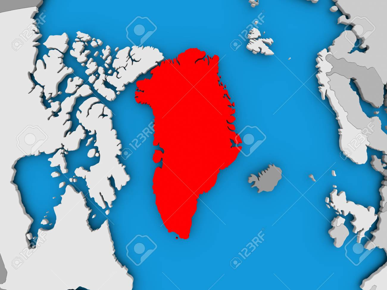 Greenland In Red On Political Map 3d Illustration Stock Photo