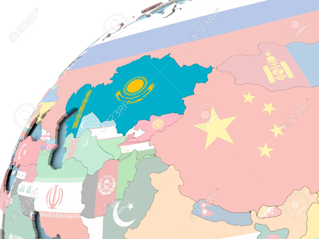Kazakhstan Political Map.Map Of Kazakhstan On Political Globe With Embedded Flag 3d