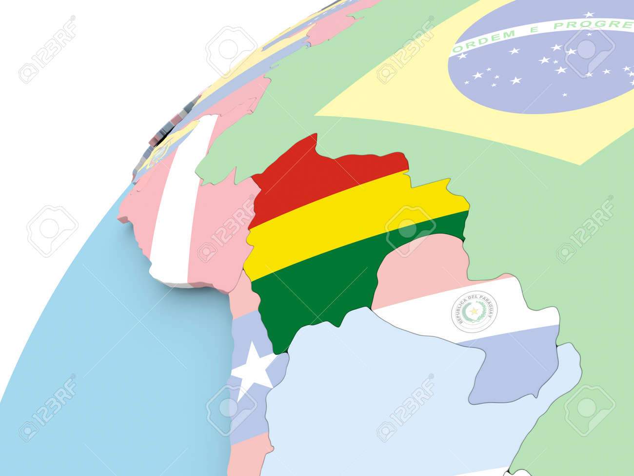 Map Of Bolivia On Political Globe With Embedded Flag 3d
