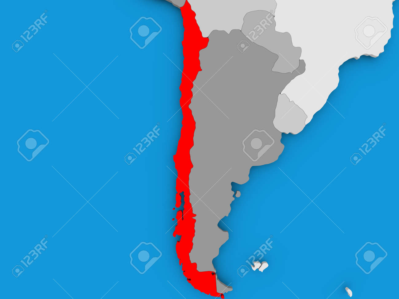 Chile In Red On Political Map 3d Illustration Stock Photo Picture