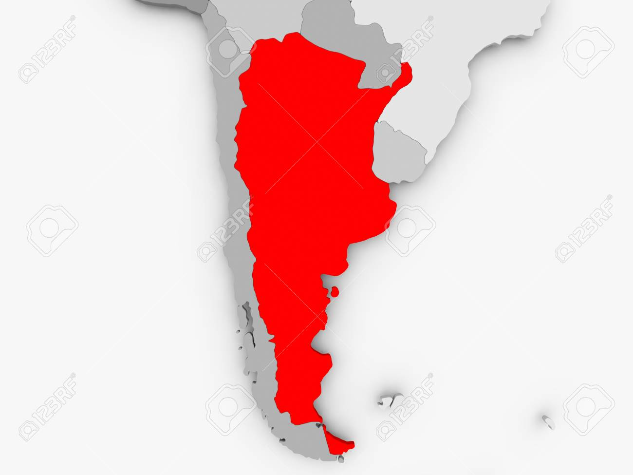 Argentina In Red On Grey Political Map 3D Illustration Stock Photo