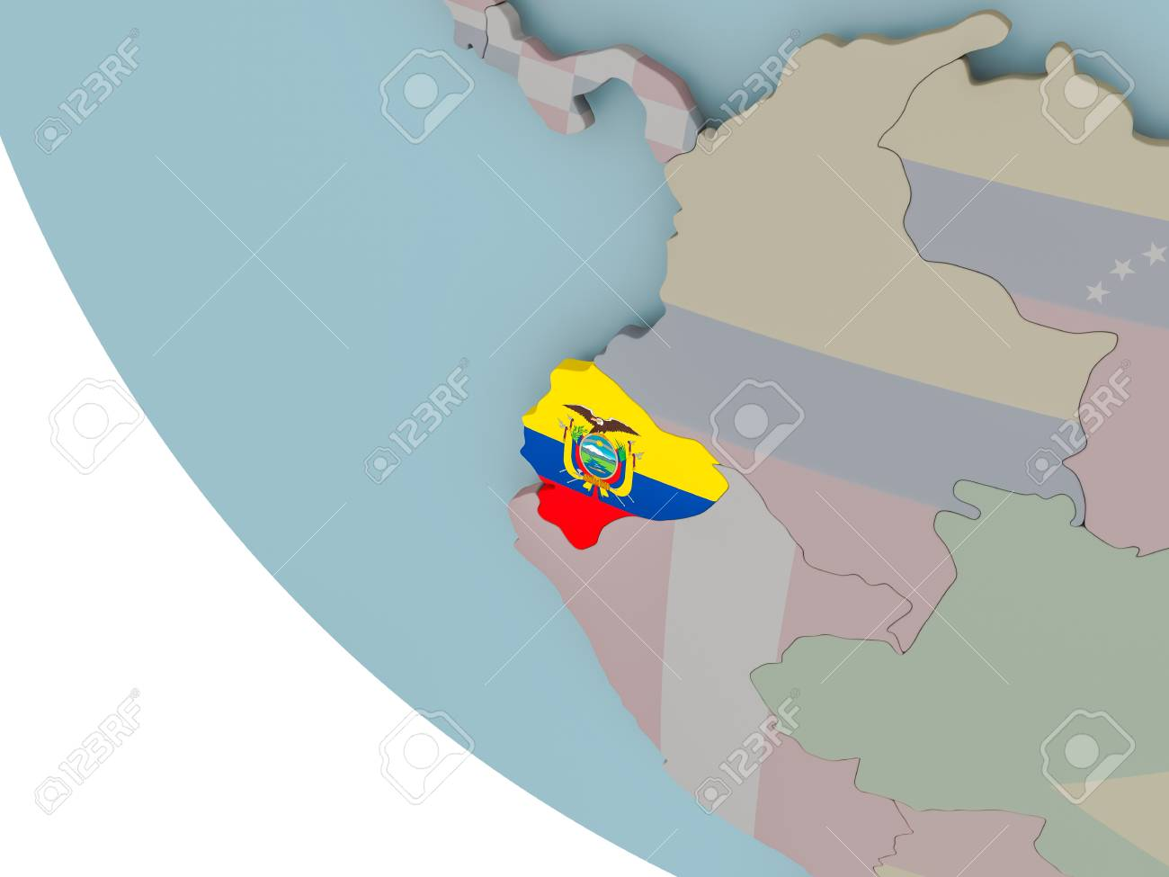 Map Of Ecuador On Political Globe With Embedded Flags 3d
