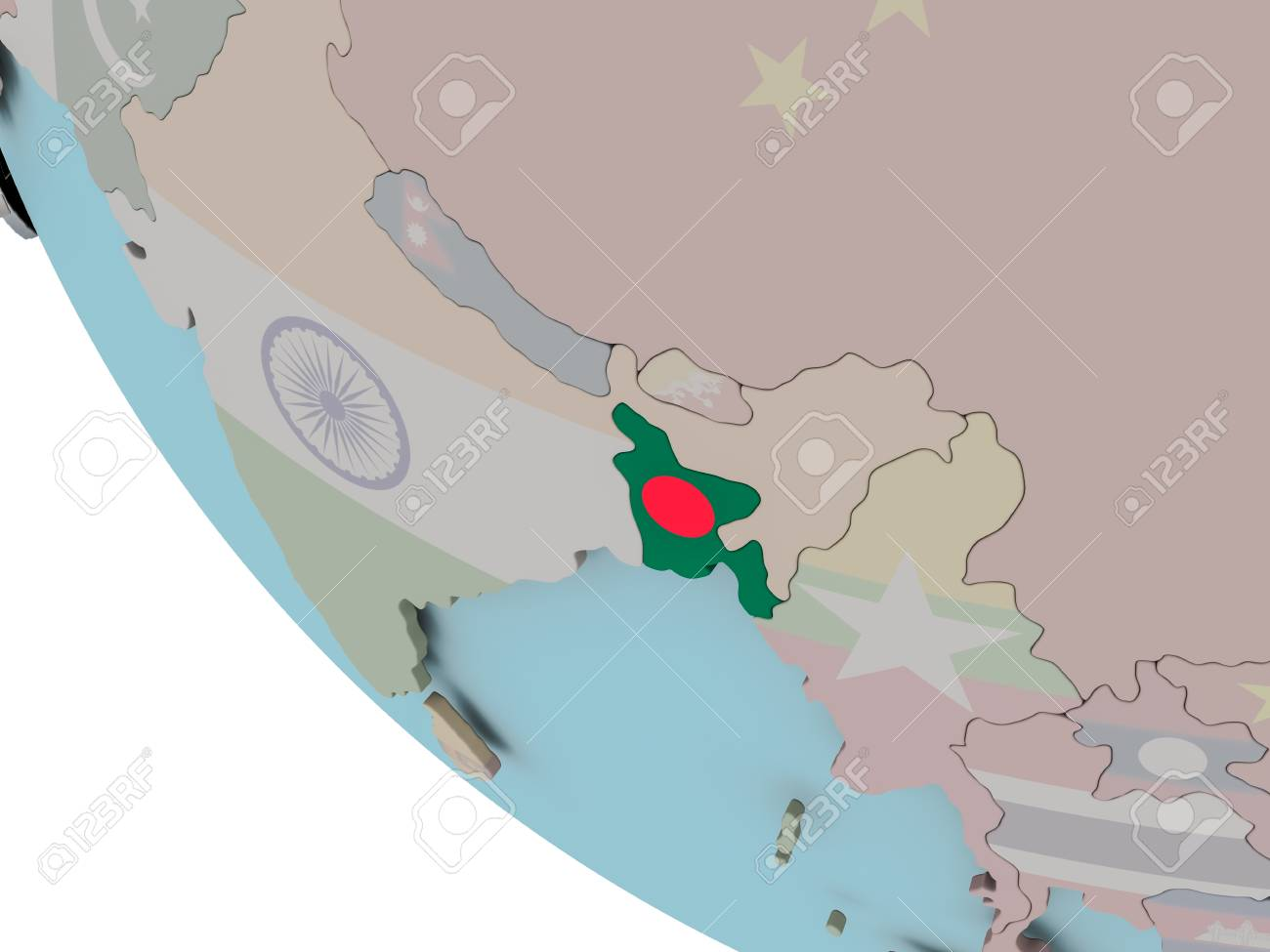 Map Of Bangladesh On Political Globe With Embedded Flags 3d Stock