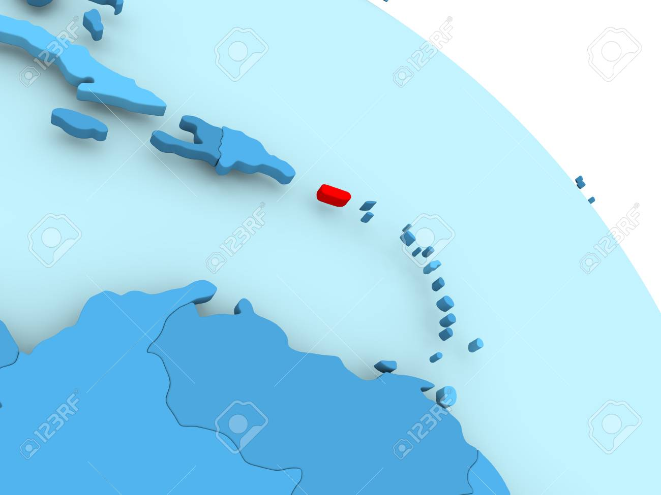 Puerto Rico Highlighted On Blue 3d Model Of Political Globe Stock