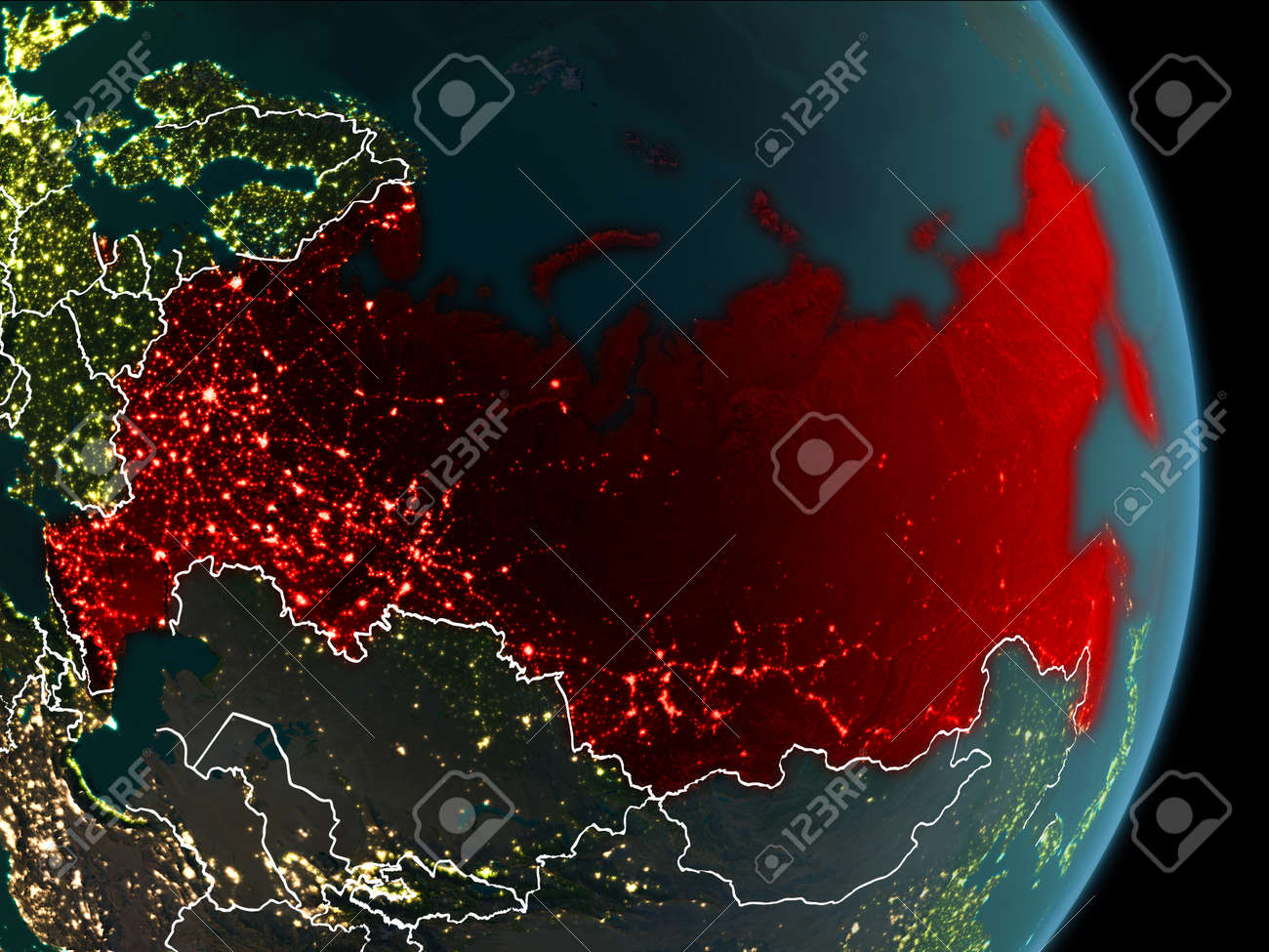 Map of russia in red as seen from space on planet earth at night illustration map of russia in red as seen from space on planet earth at night with white borderlines and city lights 3d illustration gumiabroncs Images