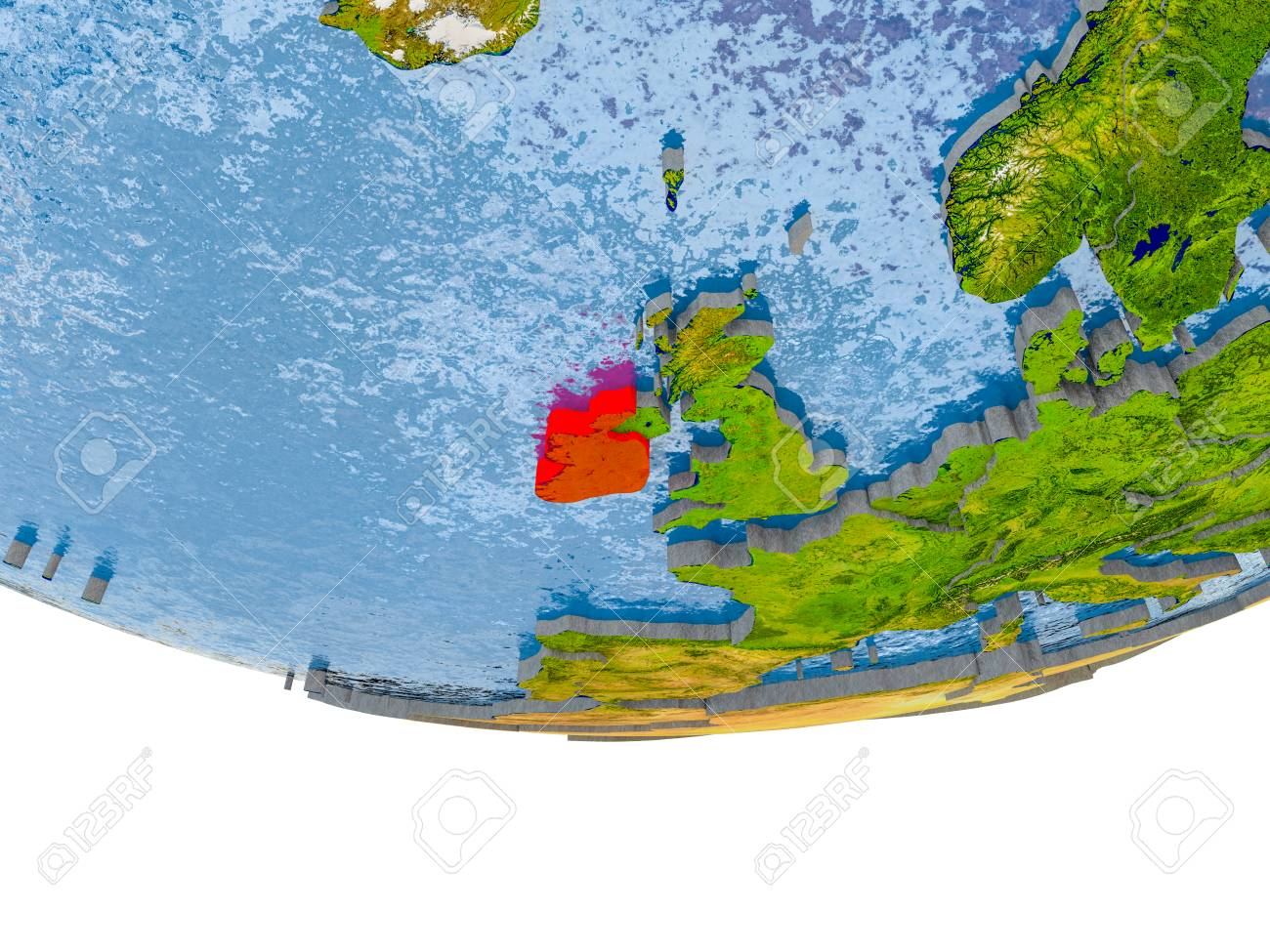 Ireland on 3d model of globe with real land surface visible stock illustration ireland on 3d model of globe with real land surface visible country borders and water in place of ocean 3d illustration gumiabroncs Image collections