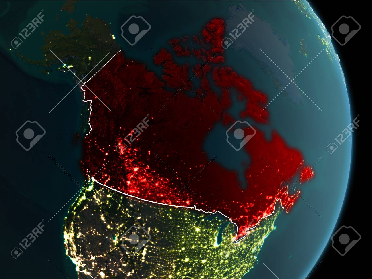 Map Of Canada In Red As Seen From Space On PlaEarth At Night