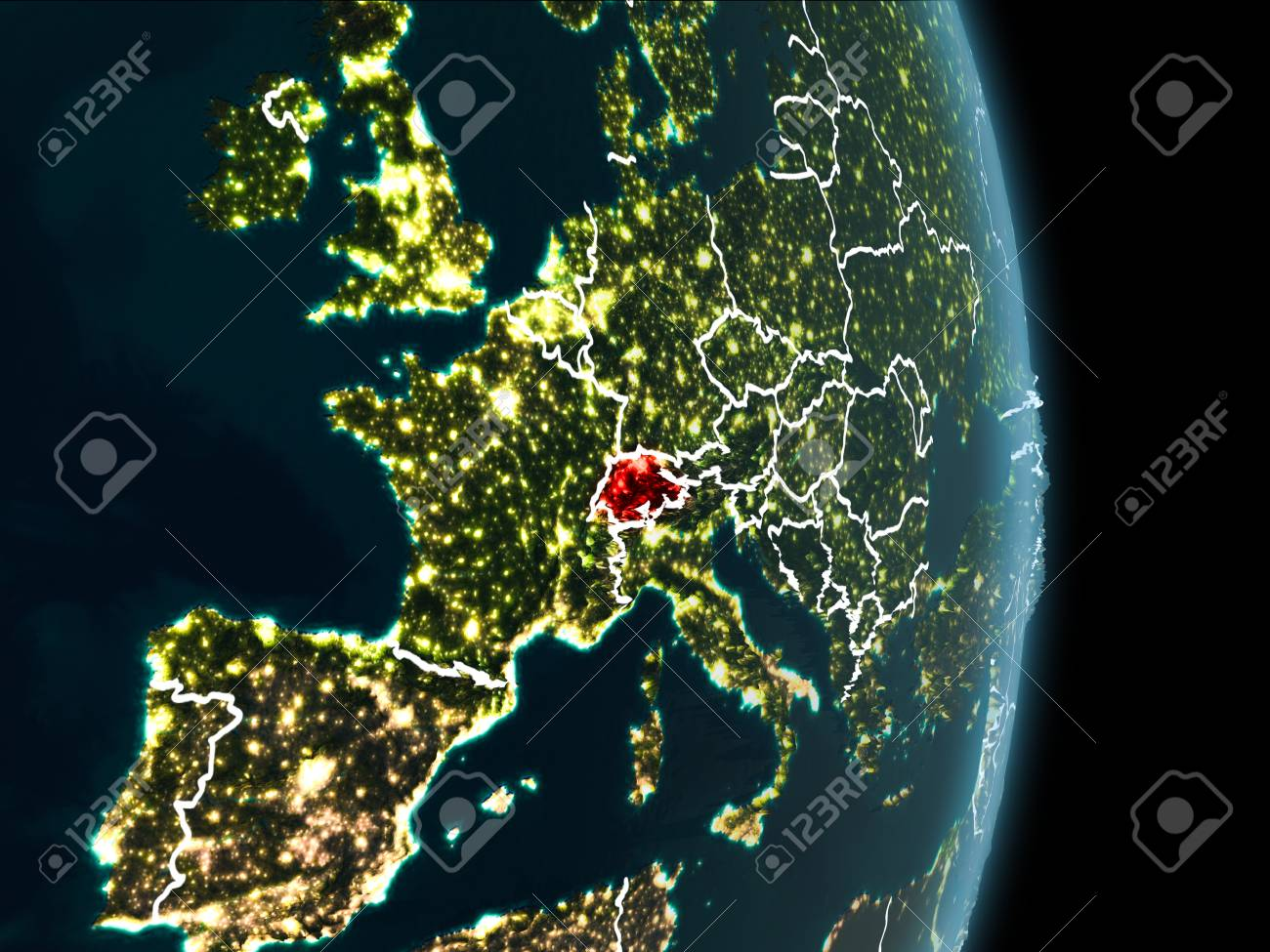 Map of switzerland in red as seen from space on planet earth stock illustration map of switzerland in red as seen from space on planet earth at night with white borderlines and city lights 3d illustration gumiabroncs Gallery