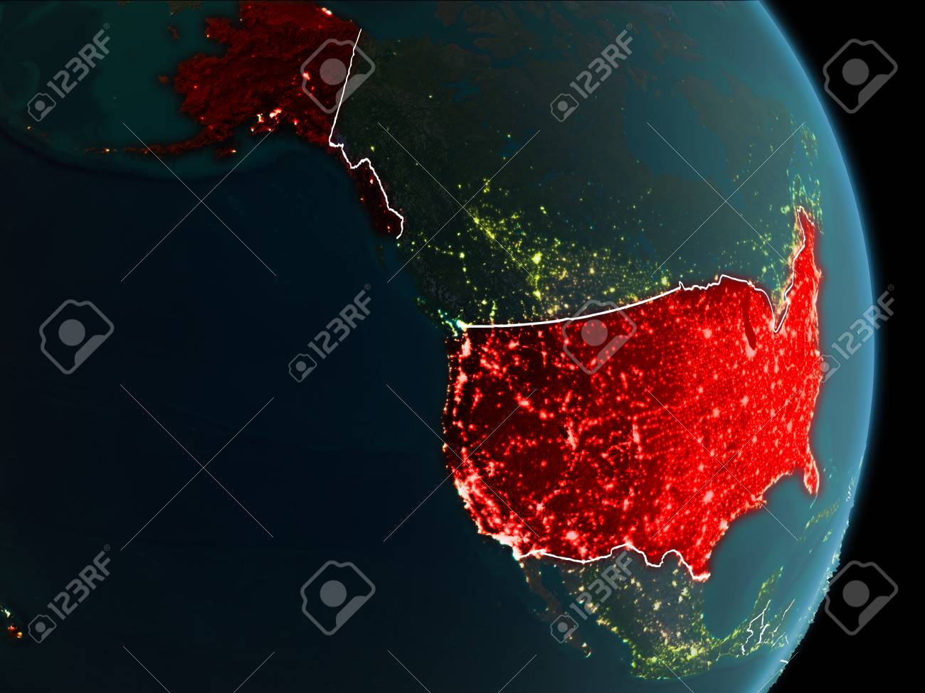Map Of Usa At Night.Map Of Usa In Red As Seen From Space On Planet Earth At Night