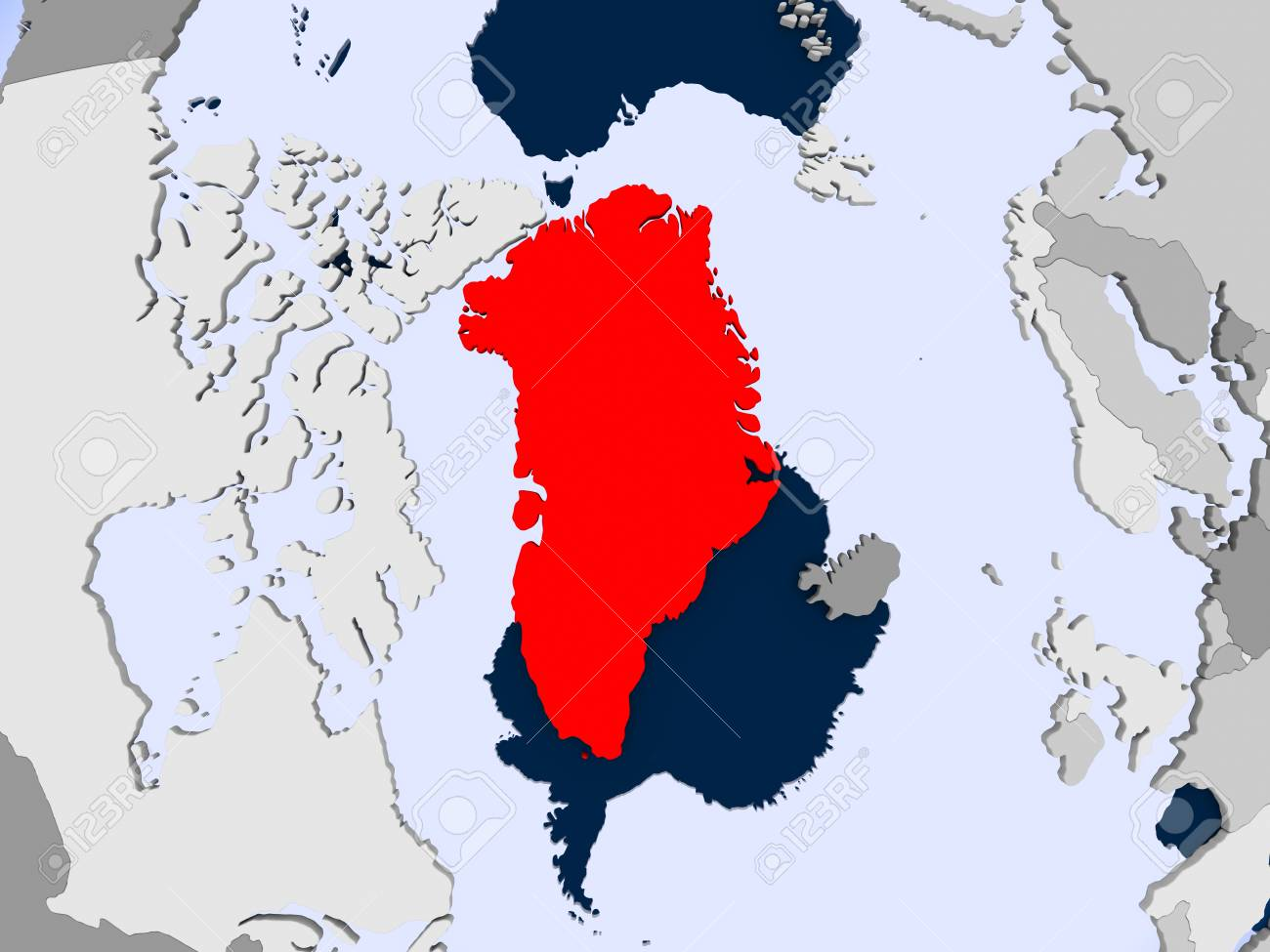 Greenland In Red On Political Map With Transparent Oceans 3d