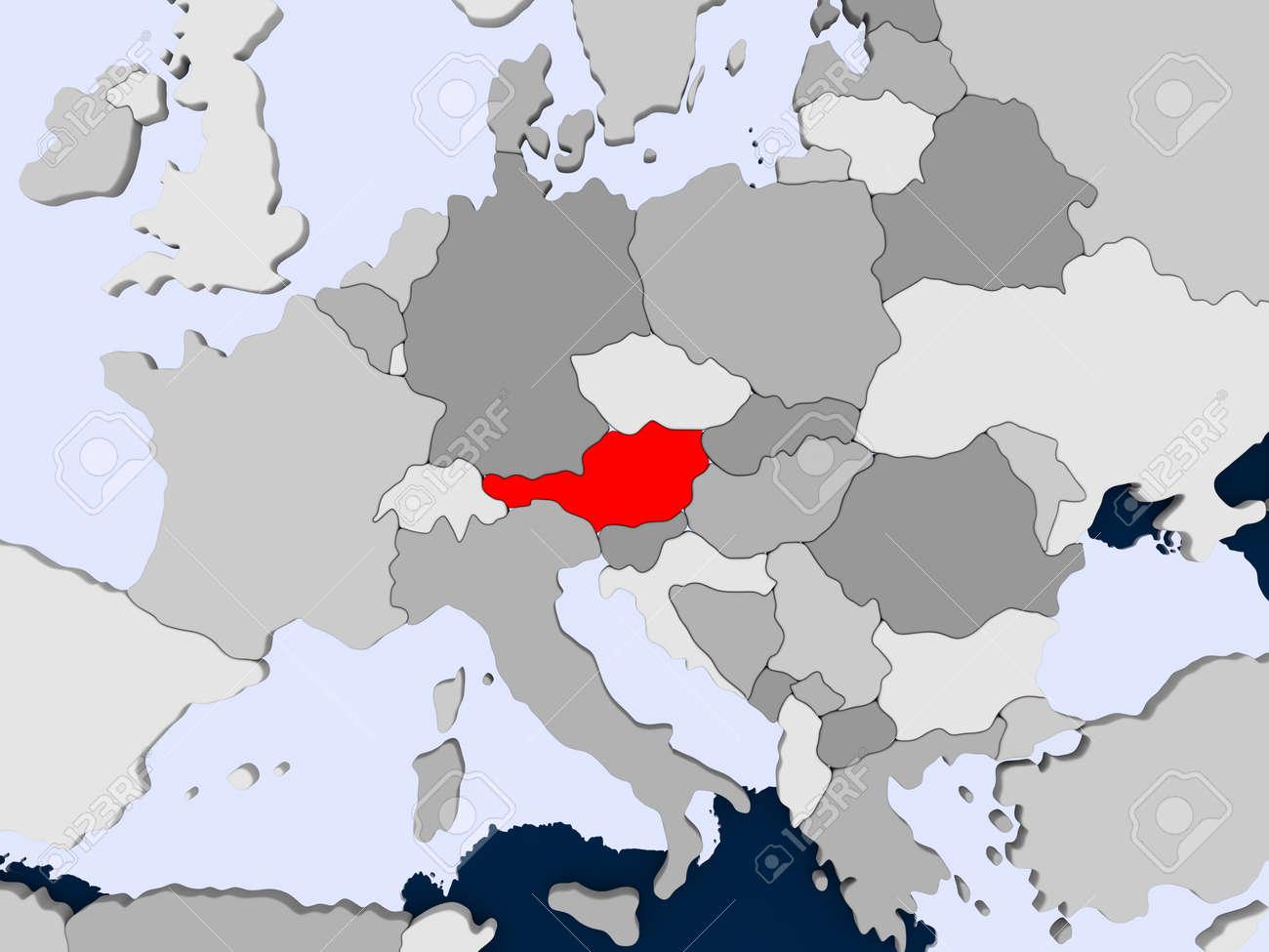Mapa Politico De Austria.Austria En Rojo En El Mapa Politico Con Los Oceanos Transparentes Ilustracion 3d