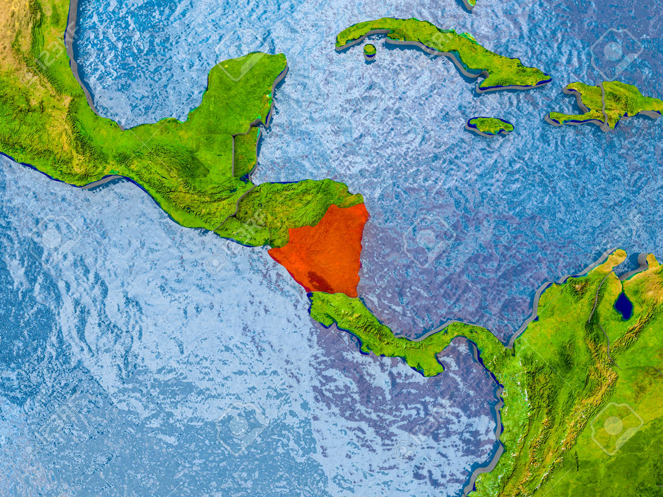 Nicaragua in red on realistic map with embossed countries 3d illustration nicaragua in red on realistic map with embossed countries 3d illustration gumiabroncs Gallery