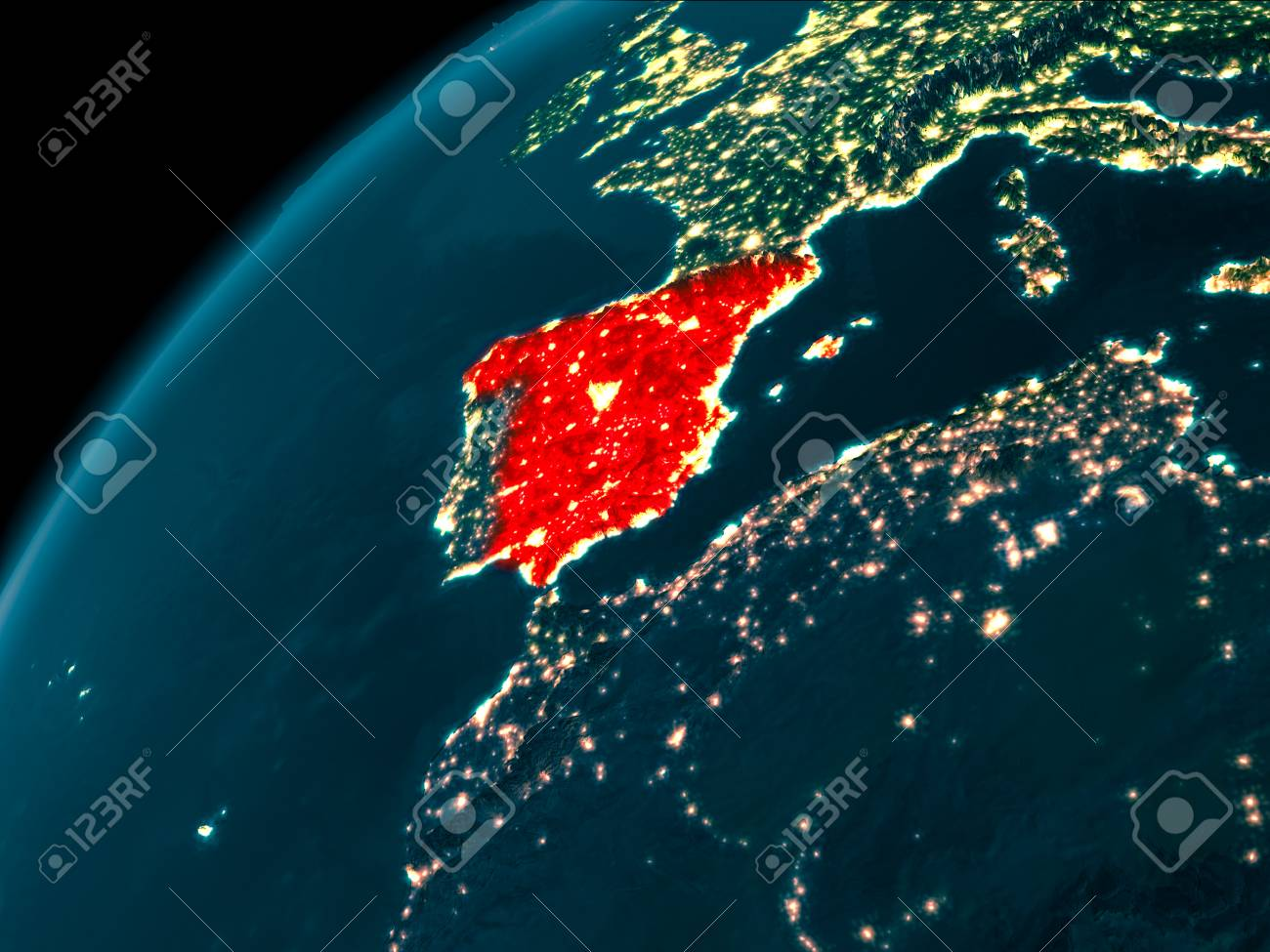 Night map of spain as seen from space on planet earth 3d illustration night map of spain as seen from space on planet earth 3d illustration gumiabroncs Image collections