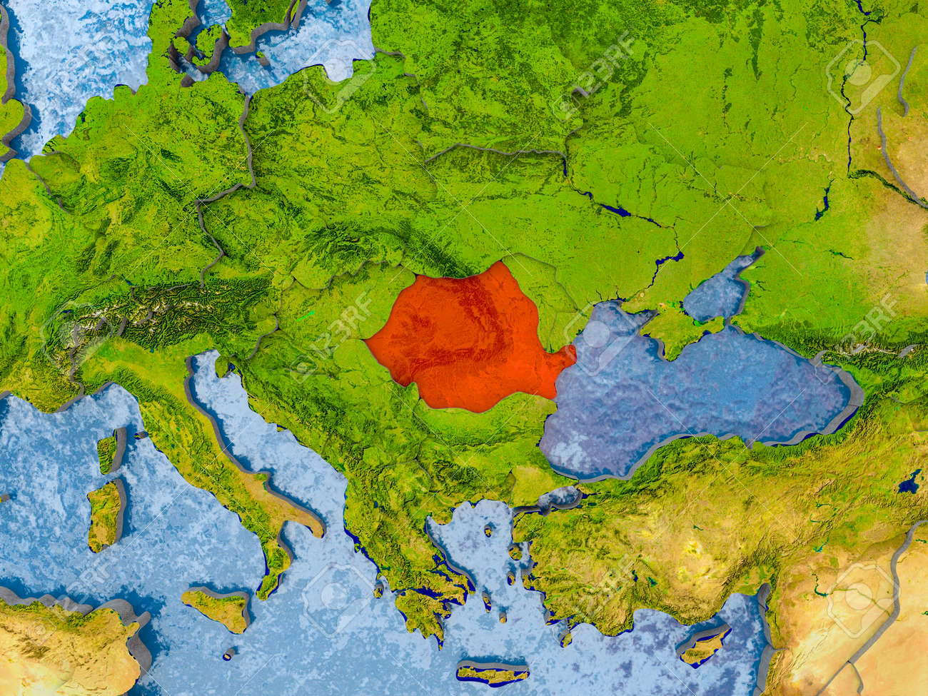 Romania in red on realistic map with embossed countries 3d illustration romania in red on realistic map with embossed countries 3d illustration gumiabroncs Images